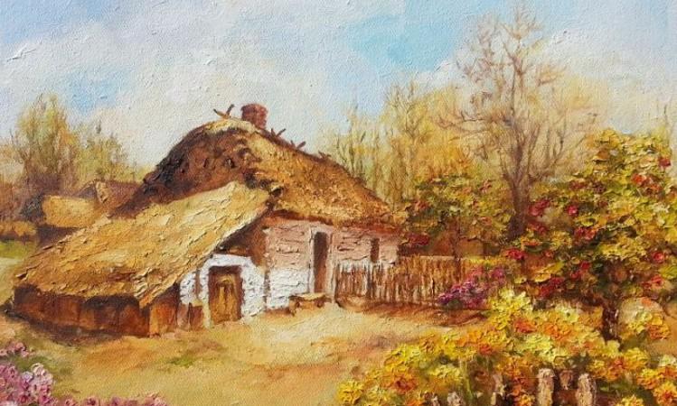 Jesień, astry-obraz