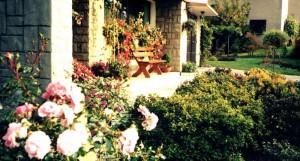 kwiaty w donicach przed wejściem do domu