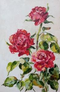 Trzy czerwone róże-obraz